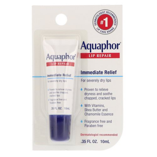 Aquaphor, Lip Repair, Immediate Relief, Fragrance Free, .35 fl oz (10 ml) فوائد