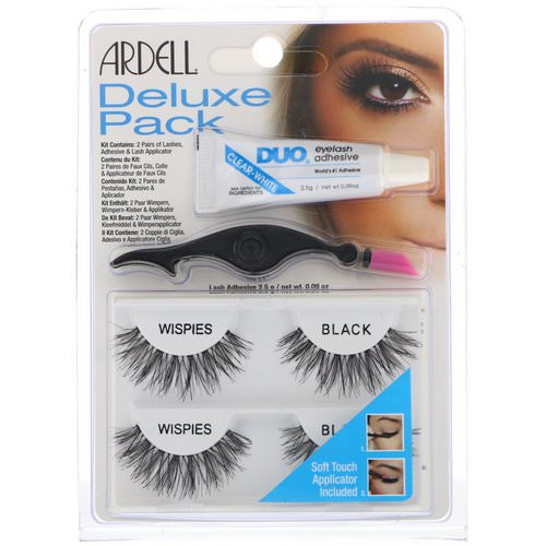 Ardell, Deluxe Pack, Wispies Lashes with Applicator and Eyelash Adhesive, 1 Set فوائد