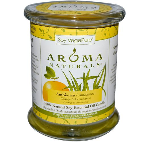 Aroma Naturals, Soy VegePure, 100% Natural Soy Essential Oil Candle, Ambiance, Orange & Lemongrass, 8.8 oz (260 g) فوائد
