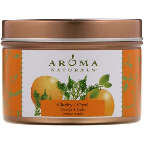 Aroma Naturals, Soy VegePure, Clarity, Travel Candle, Orange & Cedar, 2.8 oz (79.38 g) فوائد