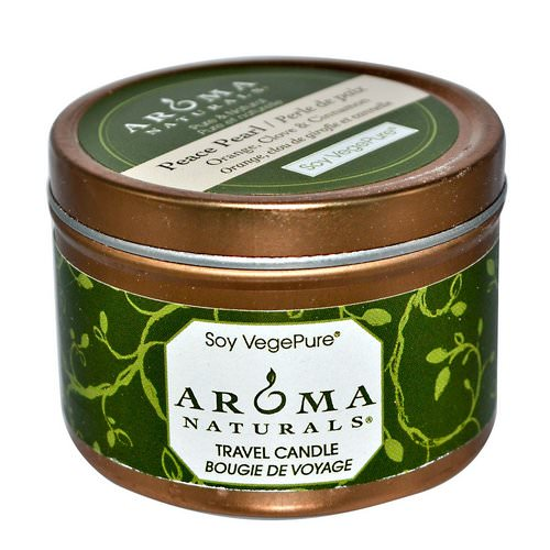 Aroma Naturals, Soy VegePure, Travel Candle, Peace Pearl, Orange, Clove & Cinnamon, 2.8 oz (79.38 g) فوائد