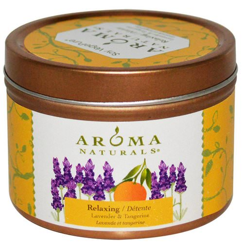 Aroma Naturals, Soy VegePure, Travel Tin Candle, Relaxing, Lavender & Tangerine, 2.8 oz (79.38 g) فوائد