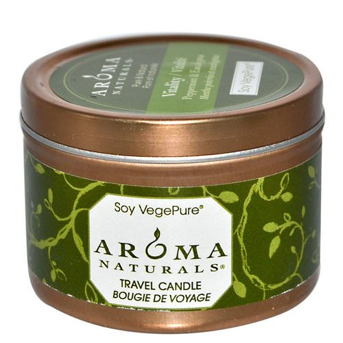 Aroma Naturals, Soy VegePure, Vitality, Travel Candle, Peppermint & Eucalyptus, 2.8 oz (79.38 g) فوائد