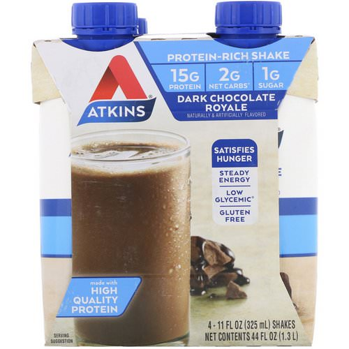 Atkins, Dark Chocolate Royale Shake, 4 Shakes, 11 fl oz (325 ml) Each فوائد