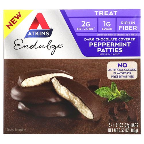 Atkins, Endulge, Dark Chocolate Covered Peppermint Patties, 5 Bars, 1.31 oz (37 g) Each فوائد
