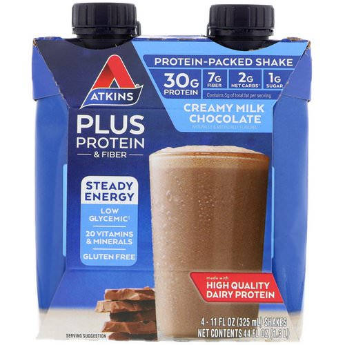 Atkins, Plus Protein & Fiber, Creamy Milk Chocolate, 4 Shakes, 11 fl oz (325 ml) Each فوائد