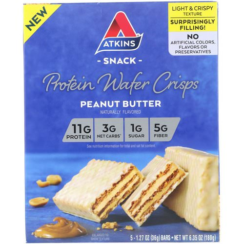 Atkins, Protein Wafer Crisps, Peanut Butter, 5 Bars, 1.27 oz (36 g) Each فوائد