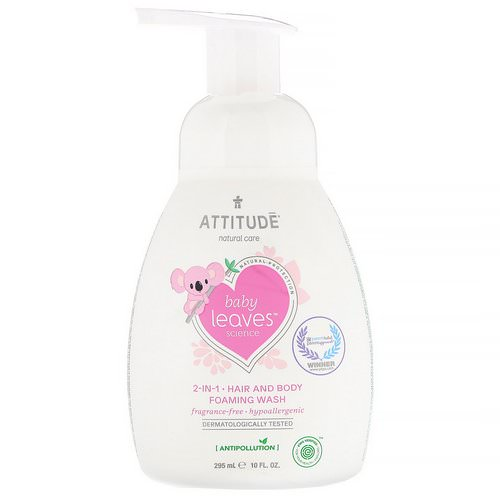 ATTITUDE, Baby Leaves Science, 2-In-1 Hair and Body Foaming Wash, Fragrance-Free, 10 fl oz (295 ml) فوائد