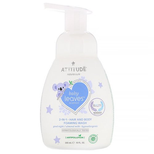 ATTITUDE, Baby Leaves Science, 2-In-1 Hair and Body Foaming Wash, Good Night / Almond Milk, 10 fl oz (295 ml) فوائد