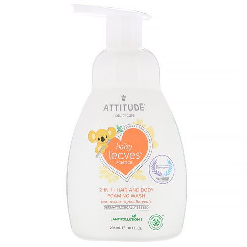 ATTITUDE, Baby Leaves Science, 2-In-1 Hair and Body Foaming Wash, Pear Nectar, 10 fl oz (295 ml) فوائد