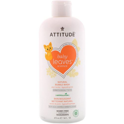 ATTITUDE, Baby Leaves Science, Natural Bubble Wash, Pear Nectar, 16 fl oz (473 ml) فوائد