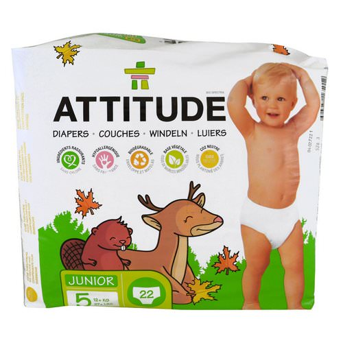 ATTITUDE, Diapers, Junior, Size 5, 27+ lbs (12+ kg), 22 Diapers فوائد