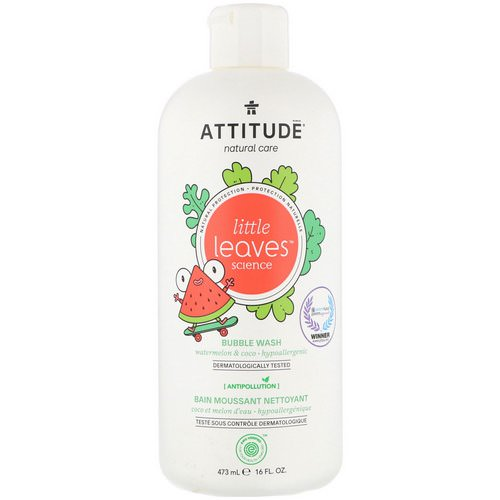 ATTITUDE, Little Leaves Science, Bubble Wash, Watermelon & Coco, 16 fl oz (473 ml) فوائد