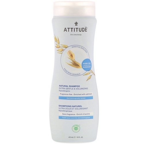 ATTITUDE, Natural Shampoo, Extra Gentle & Volumizing, Fragrance-Free, 16 fl oz (473 ml) فوائد