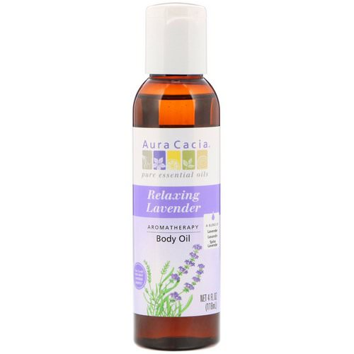 Aura Cacia, Aromatherapy Body Oil, Relaxing Lavender, 4 fl oz (118 ml) فوائد