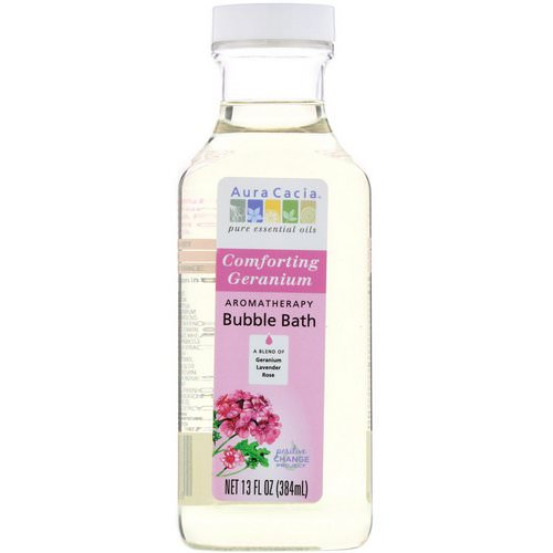 Aura Cacia, Aromatherapy Bubble Bath, Comforting Geranium, 13 fl oz (384 ml) فوائد