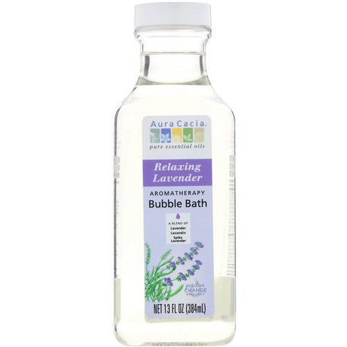 Aura Cacia, Aromatherapy Bubble Bath, Relaxing Lavender, 13 fl oz (384 ml) فوائد