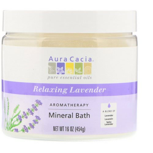 Aura Cacia, Aromatherapy Mineral Bath, Relaxing Lavender, 16 oz (454 g) فوائد