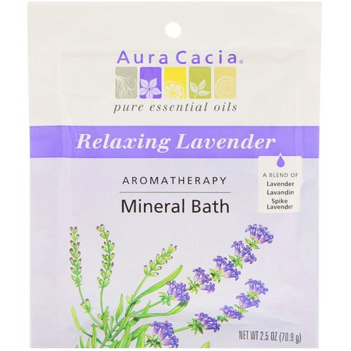 Aura Cacia, Aromatherapy Mineral Bath, Relaxing Lavender, 2.5 oz (70.9 g) فوائد