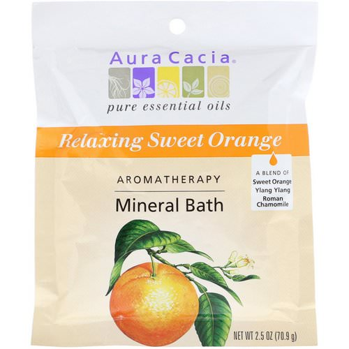 Aura Cacia, Aromatherapy Mineral Bath, Relaxing Sweet Orange, 2.5 oz (70.9 g) فوائد