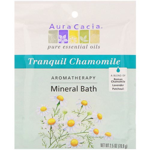 Aura Cacia, Aromatherapy Mineral Bath, Tranquil Chamomile, 2.5 oz (70.9 g) فوائد