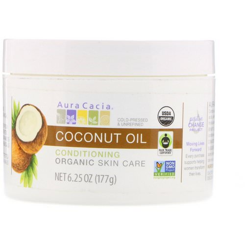 Aura Cacia, Conditioning Organic Skin Care, Coconut Oil, 6.25 oz (177 g) فوائد
