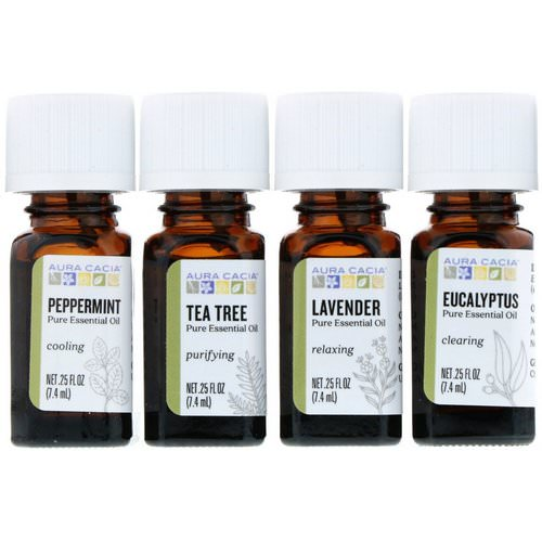 Aura Cacia, Discover Essential Oils Kit, 4 Bottles, .25 fl oz (7.4 ml) Each فوائد