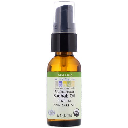 Aura Cacia, Organic Baobab Oil, Skin Care Oil, 1 fl oz (30 ml) فوائد