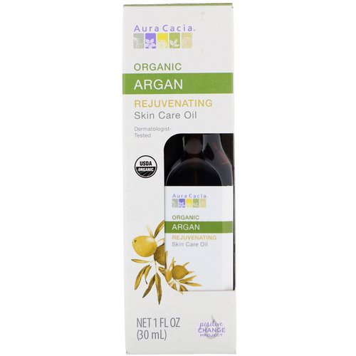 Aura Cacia, Organic Skin Care Oil, Rejuvenating, Argan, 1 fl oz (30 ml) فوائد