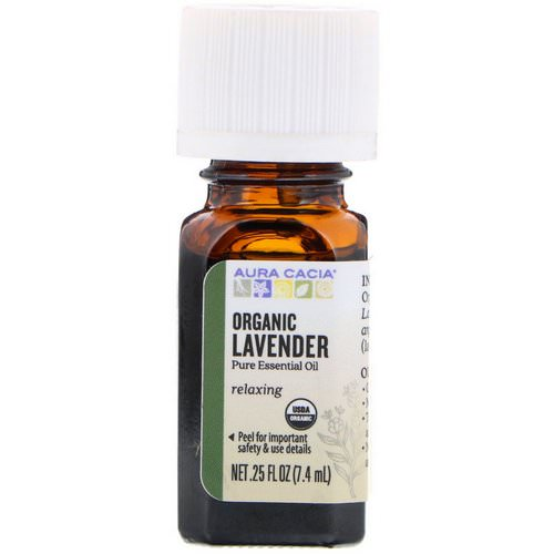 Aura Cacia, Pure Essential Oil, Organic Lavender, .25 fl oz (7.4 ml) فوائد