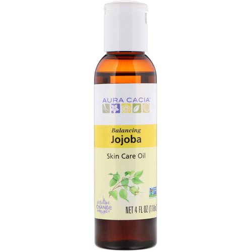 Aura Cacia, Skin Care Oil, Balancing Jojoba, 4 fl oz (118 ml) فوائد