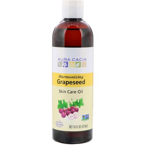 Aura Cacia, Skin Care Oil, Harmonizing Grapeseed, 16 fl oz (473 ml) فوائد