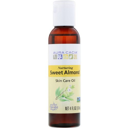 Aura Cacia, Skin Care Oil, Nurturing Sweet Almond, 4 fl oz (118 ml) فوائد