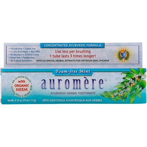 Auromere, Ayurvedic Herbal Toothpaste, Foam-Free, Mint, 4.16 oz (117 g) فوائد