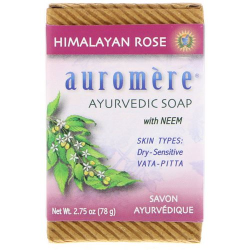 Auromere, Ayurvedic Soap, With Neem, Himalayan Rose, 2.75 oz (78 g) فوائد