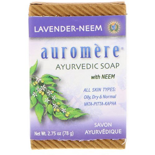 Auromere, Ayurvedic Soap With Neem, Lavender-Neem, 2.75 oz (78 g) فوائد