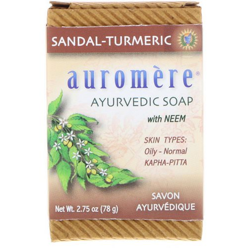 Auromere, Ayurvedic Soap, with Neem, Sandal-Turmeric, 2.75 oz (78 g) فوائد