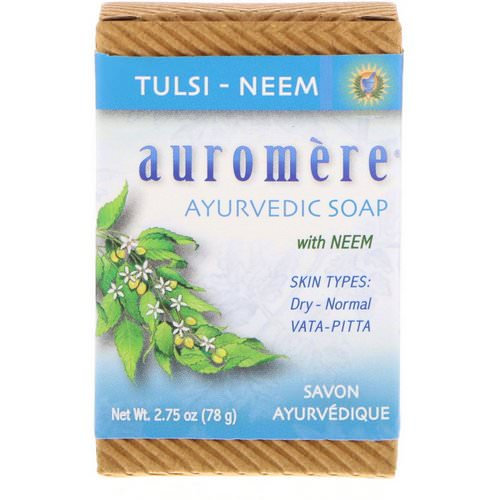 Auromere, Ayurvedic Soap, with Neem, Tulsi-Neem, 2.75 oz (78 g) فوائد