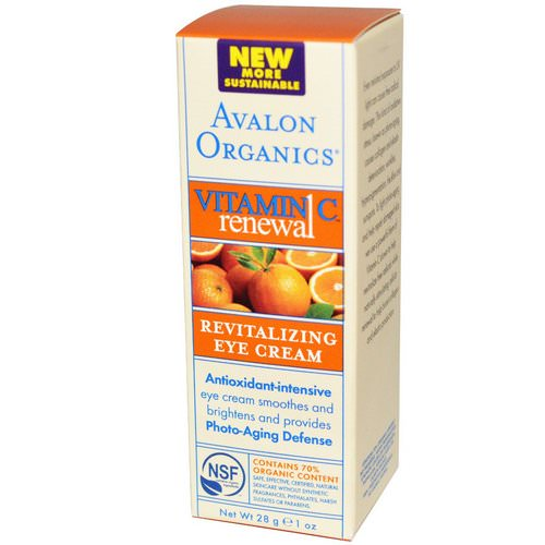 Avalon Organics, Vitamin C Renewal, Revitalizing Eye Cream, 1 oz (28 g) فوائد