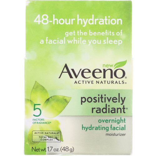 Aveeno, Active Naturals, Positively Radiant, Overnight Hydrating Facial Moisturizer, 1.7 oz (48 g) فوائد