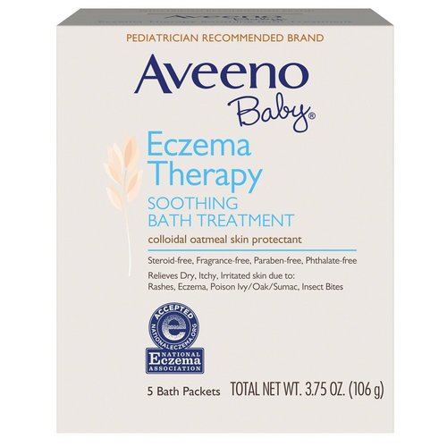 Aveeno, Baby, Eczema Therapy, Soothing Bath Treatment, Fragrance Free, 5 Bath Packets, 3.75 oz (106 g) فوائد