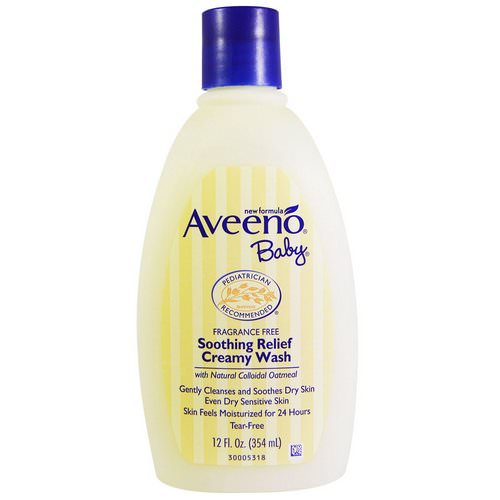 Aveeno, Baby, Soothing Relief Creamy Wash, Fragrance Free, 12 fl oz (354 ml) فوائد
