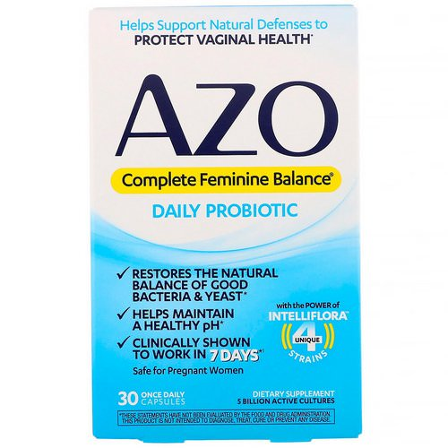 Azo, Complete Feminine Balance, Daily Probiotic, 30 Once Daily Capsules فوائد