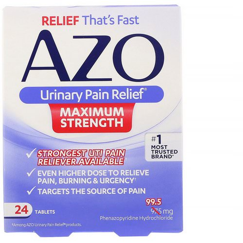 Azo, Urinary Pain Relief, Maximum Strength, 24 Tablets فوائد