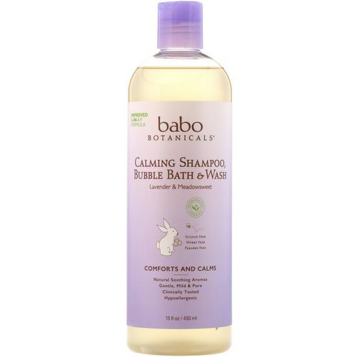 Babo Botanicals, Calming Shampoo, Bubble Bath & Wash, Lavender & Meadowsweet, 15 fl oz (450 ml) فوائد