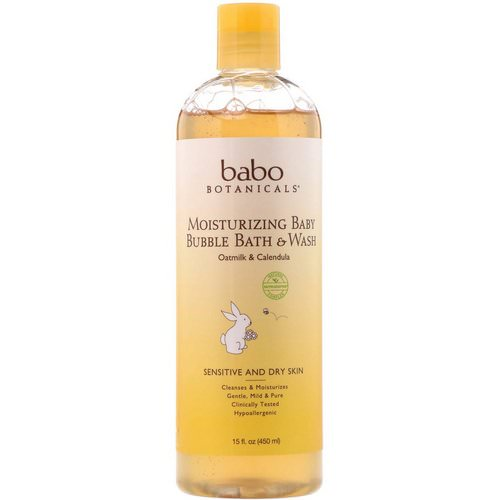 Babo Botanicals, Moisturizing Baby Bubble Bath & Wash, Oatmilk Calendula, 15 fl oz (450 ml) فوائد