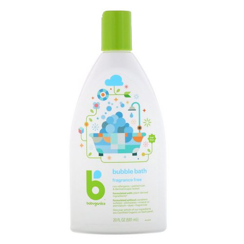 BabyGanics, Bubble Bath, Fragrance Free, 20 fl oz (591 ml) فوائد
