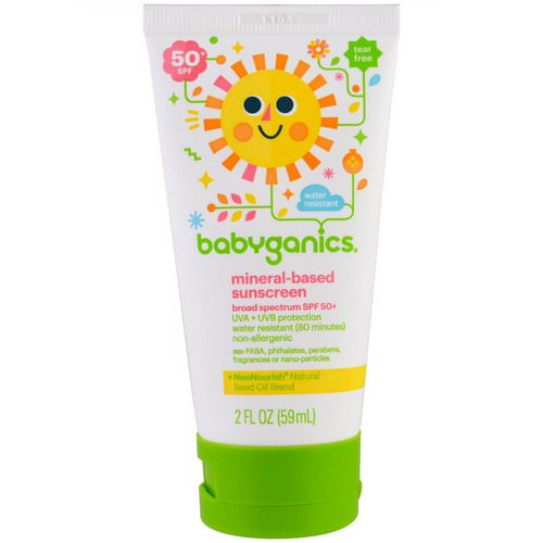 BabyGanics, Mineral Based Sunscreen Lotion, SPF 50+, 2 oz (59 ml) فوائد