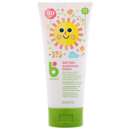 BabyGanics, Sunscreen Lotion, SPF 50+, 6 fl oz (177 ml) فوائد