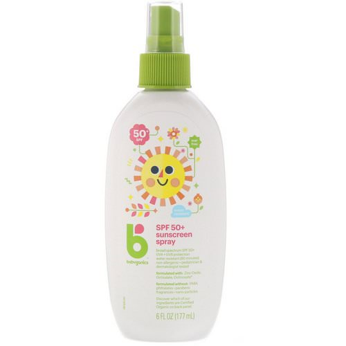 BabyGanics, Sunscreen Spray, 50+ SPF, 6 fl oz (177 ml) فوائد